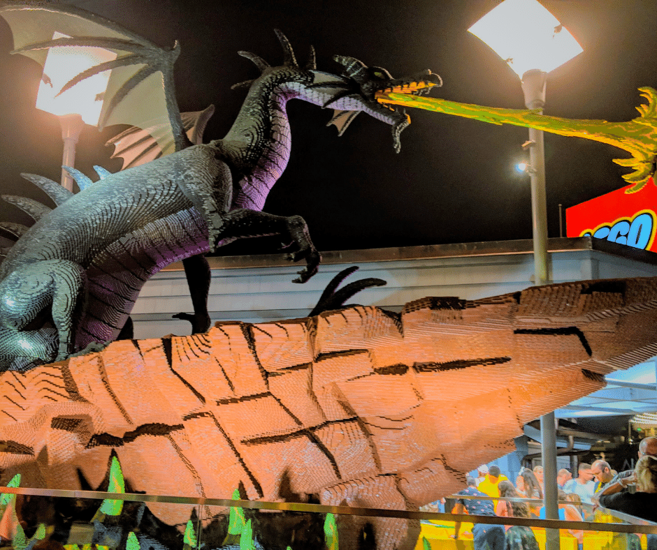 Life size dragon made out of Legos at Disney Springs