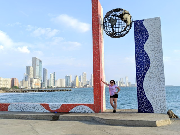 walking the streets of cartagena with beautiful city view in the background