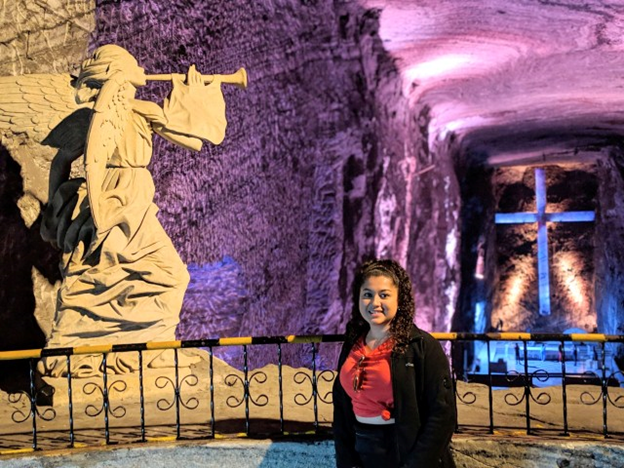 woman posing at Salt Cathedral of Zipaquira